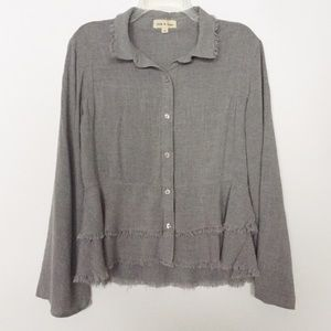 Cloth & Stone Gray Tiered Raw Edge Button Down